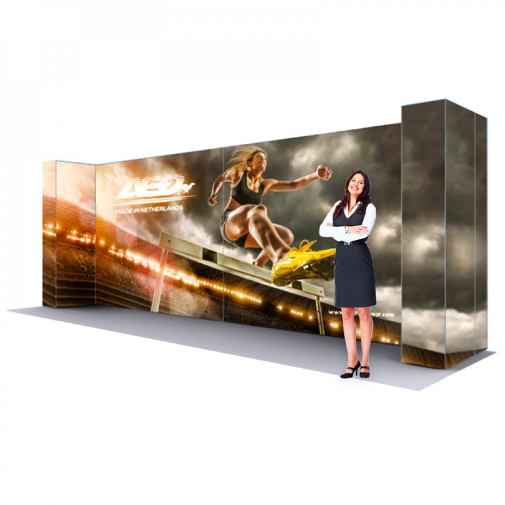 LED Backlit Fabric Popup Display 20ft wide x 7.5 ft tall Kit H