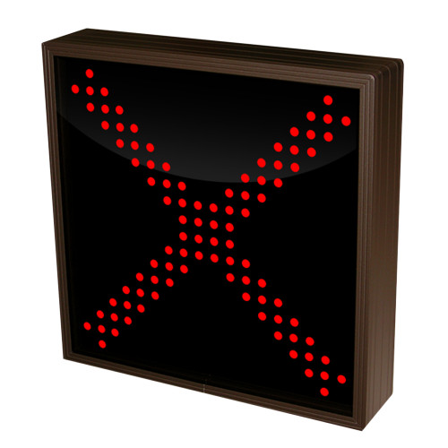 Red X Triple Rows of LED Lights 12-24 VDC, 10x10
