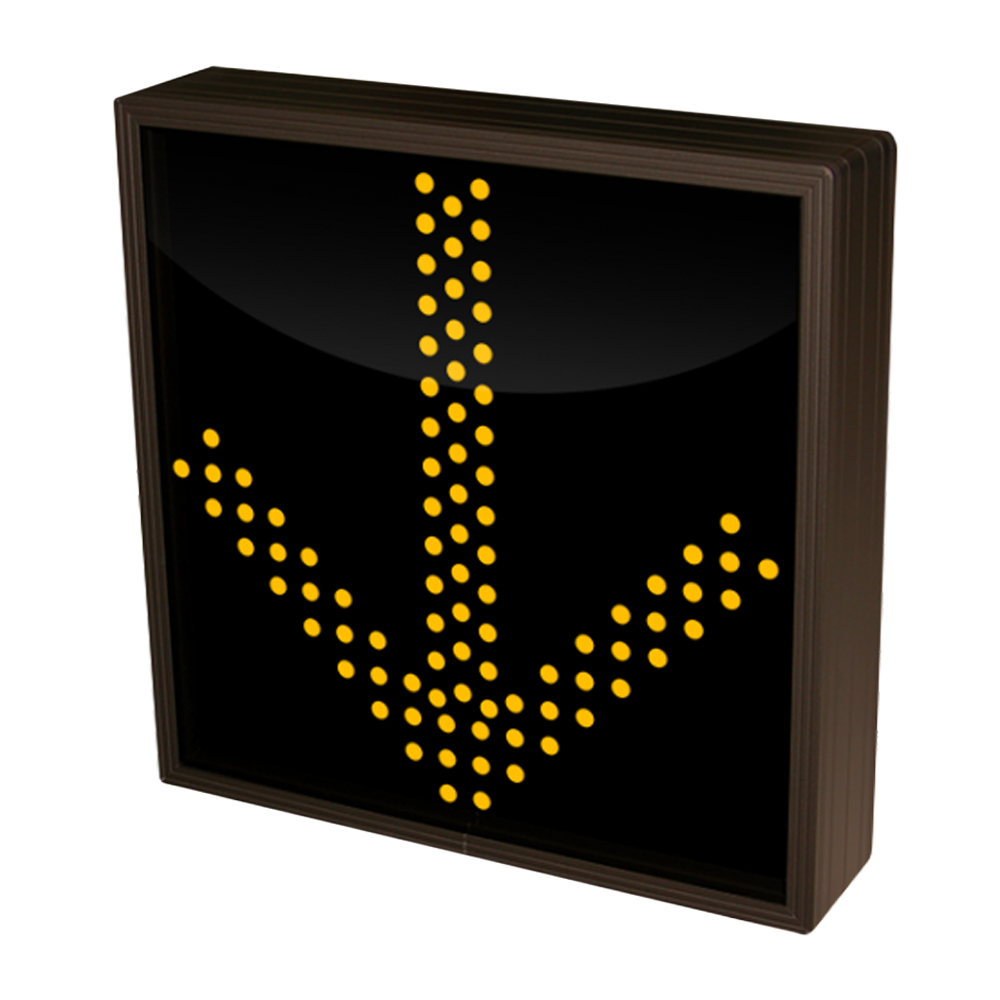 Down Arrow LED Sign with Triple Amber Lights 12-24 VDC, 10x10