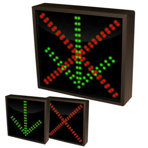 Down Arrow and  X Stop and Go Sign 120-277 VAC, 12x12