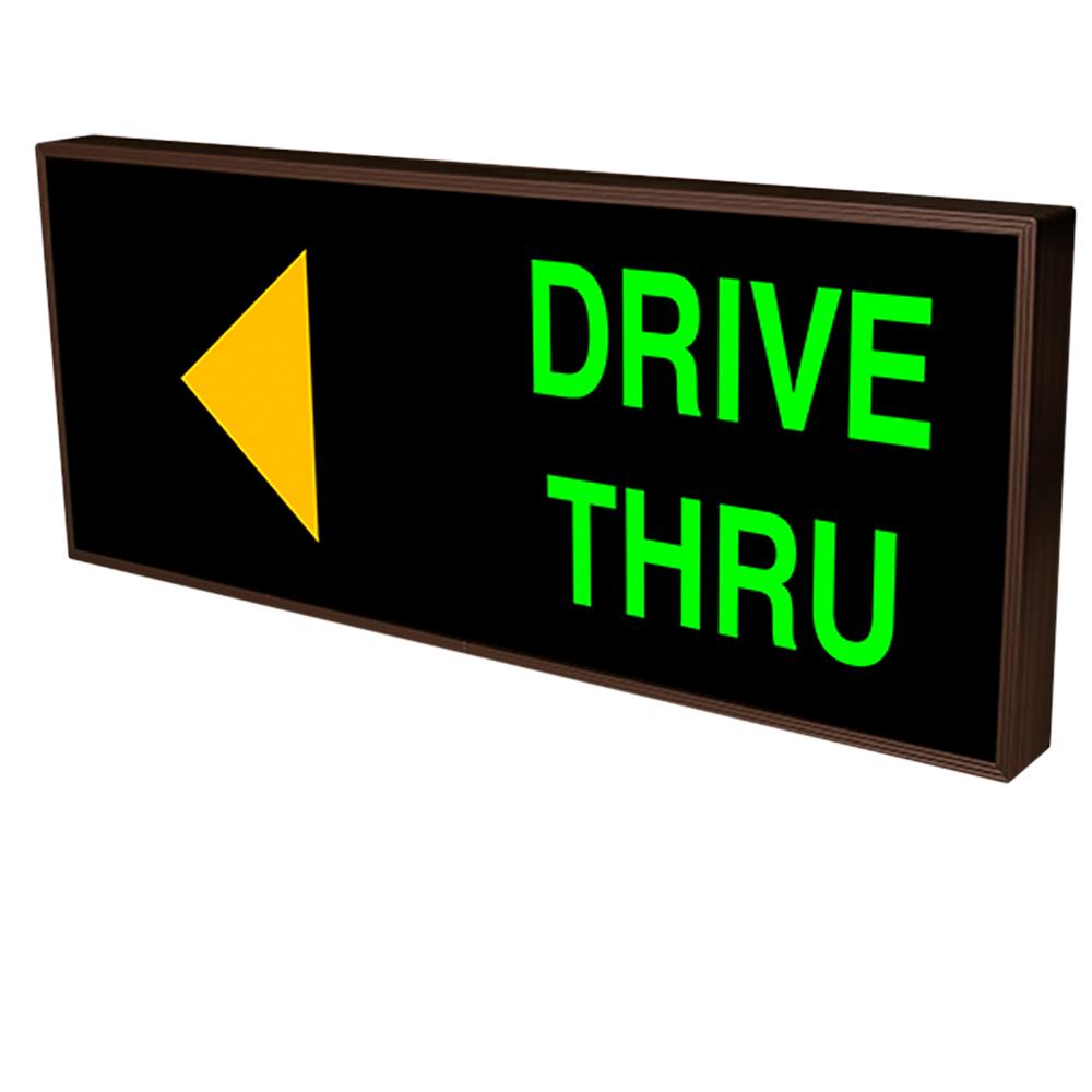 Drive-Thru with Left Arrow Backlit LED Sign 120 Volt, 14x34