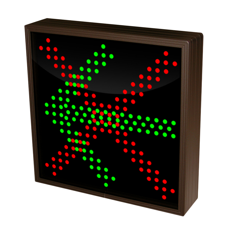 Left Arrow and  X Sign with Triple Lights 12-24 VDC, 10x10