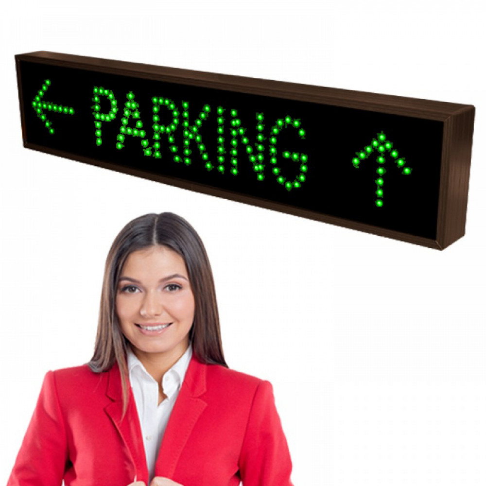 LED Parking Lot Sign PARKING with Left and Up Arrows 7x34