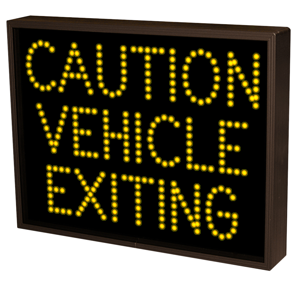 Outdoor LED Safety Sign CAUTION VEHICLE EXITING amber led's 14x18