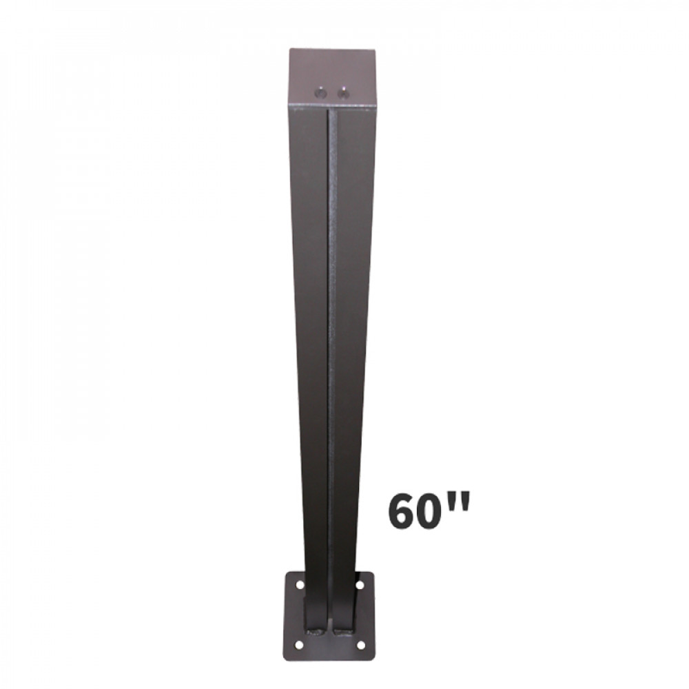 "Tall Sign Post 5ft Tall with 6"" Square Baseplates for Surface Mounting"