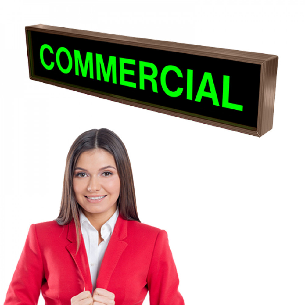 COMMERCIAL Backlit Led Sign with Green Lights, 120-277 VAC, 7x34