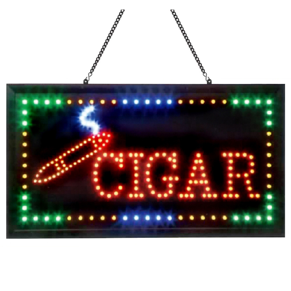 Animated LED Cigar Sign 24x12 with 4 Color Flashing Lights