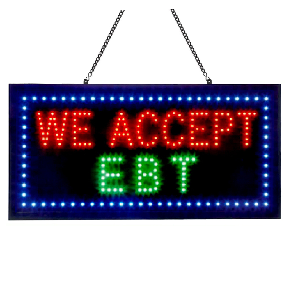Animated LED EBT Sign 24x12, Bright Flashing 4 Color LED Lights