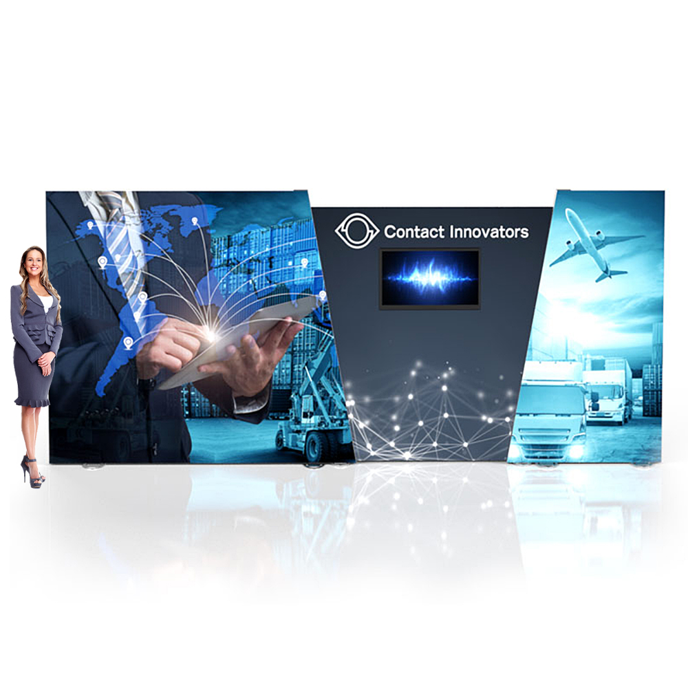 Igniter 20ft Backlit Fabric Display Free Standing Angled SEG Frame