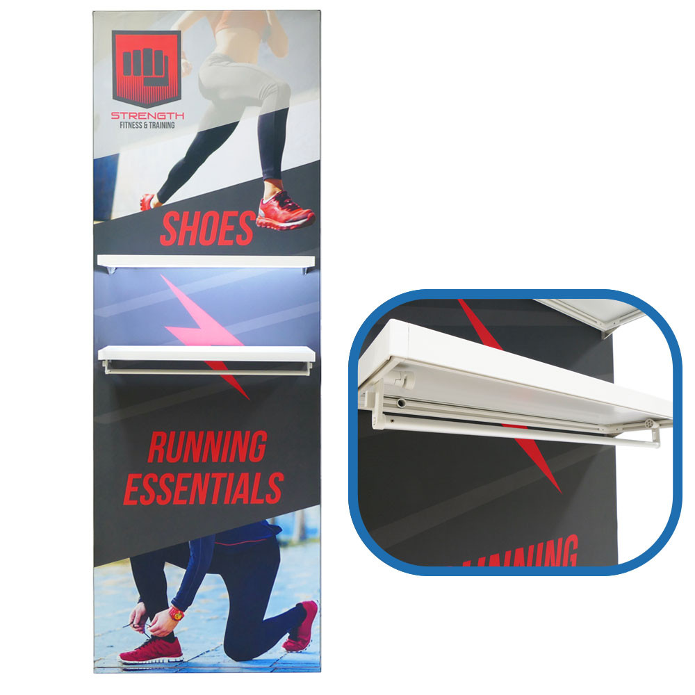 Popup Display Shelf with LED Light and Hanging Rod