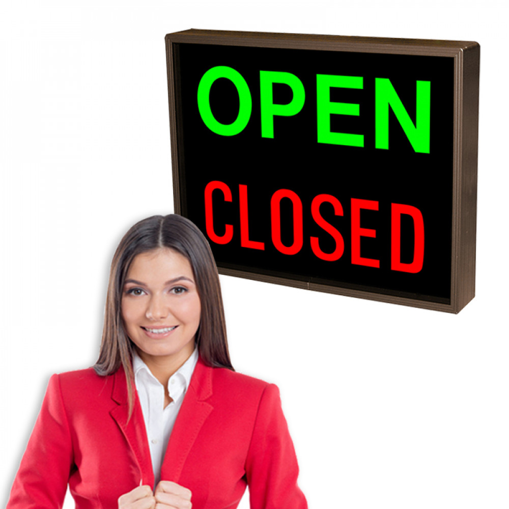 "Outdoor Open / Closed LED Sign 14"" x 18"" Drive Thru Lane Signage"