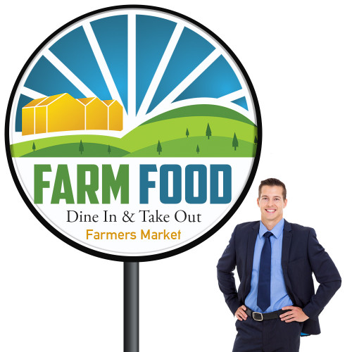 Outdoor 5ft Round Light Box Sign, Double Sided
