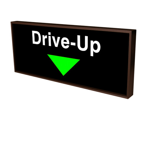 Drive-Up with Down Arrow Backlit LED Sign 120 Volt, 14x34