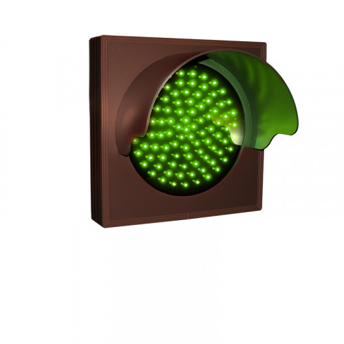 Green Traffic Signal with Hood and Flashing Lights 12-24 VDC, 7x7