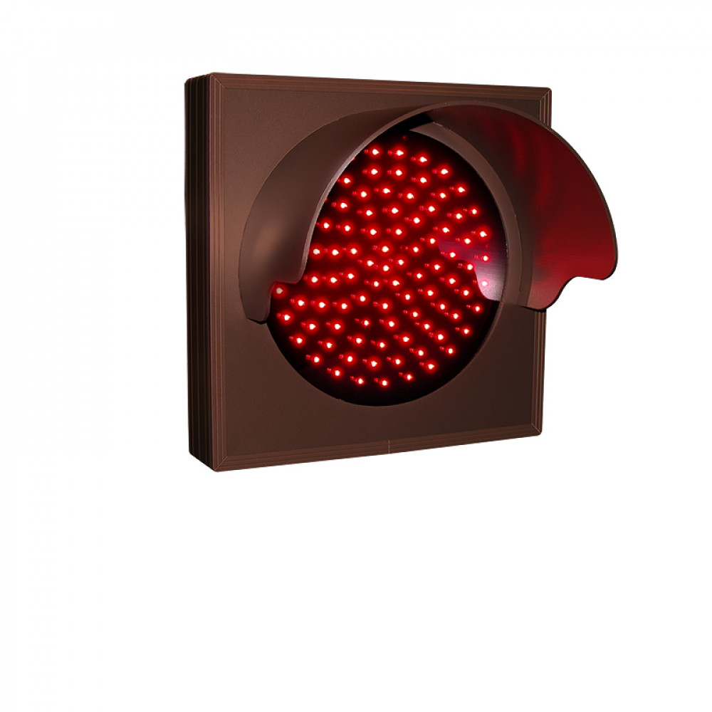 Red Traffic Signal with Hood and Flashing Lights 120-277 VAC, 7x7