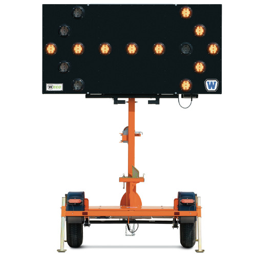 Arrow Traffic Sign Trailer with Swivel Head, 15 Flashing Lights