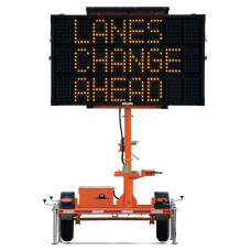 Solar Traffic Message Board Trailer, Mini 3 Line Display