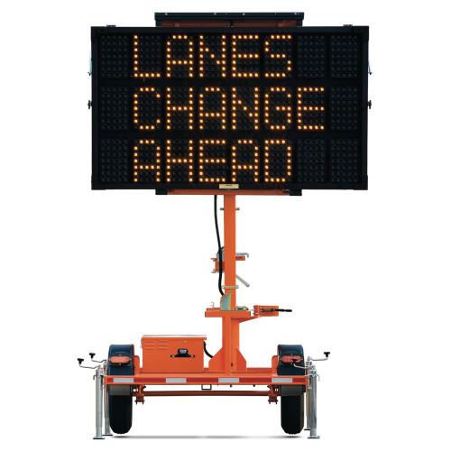 Solar Traffic Message Board Trailer, Mini 3 Line Display