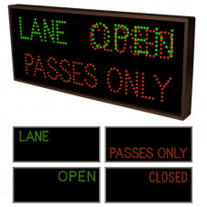 Outdoor Lane Control Sign Passes Only, Open and Closed Sign 14x34