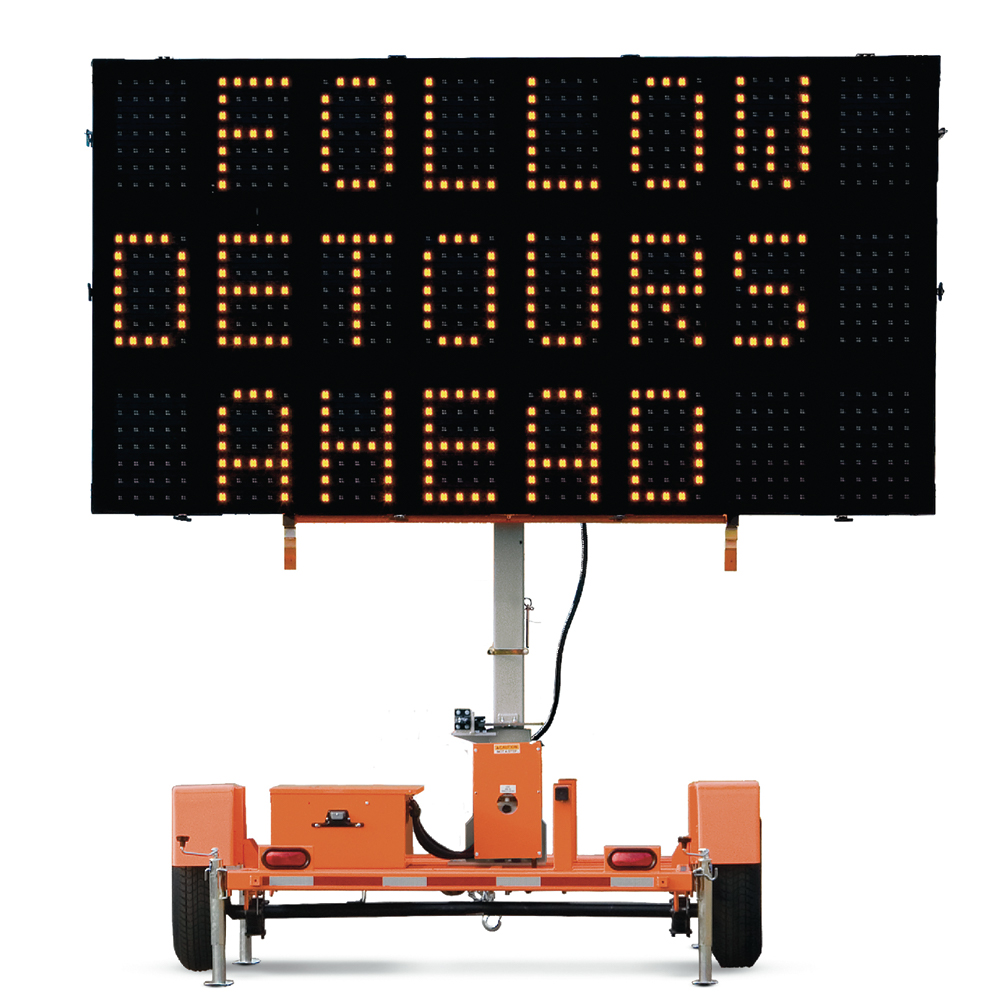 LED Traffic Control Trailer Message Sign - 3 Lines of Text