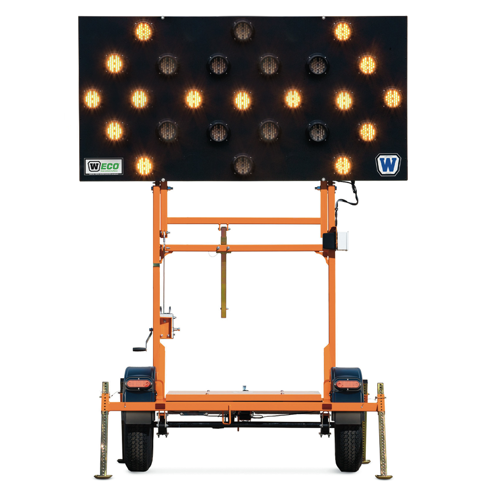 Flashing Arrow Traffic Sign Trailer with a Full 25 LED Lights