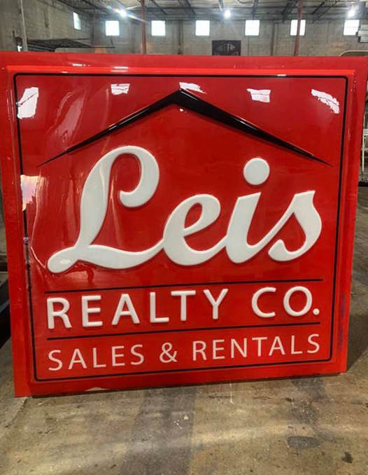 Realtor sign face, pan face with embossed logo