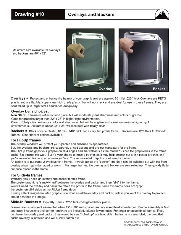 Flip Up Frame Overlays & Backers