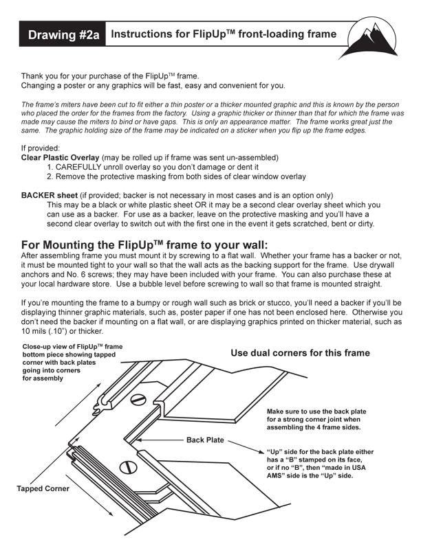 Flip Up Frame Loading amd Mounting Instuctions