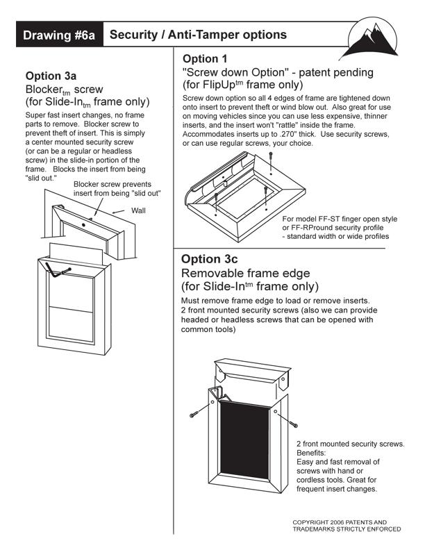 Flip Up Frame Tamper Proof Instuctions