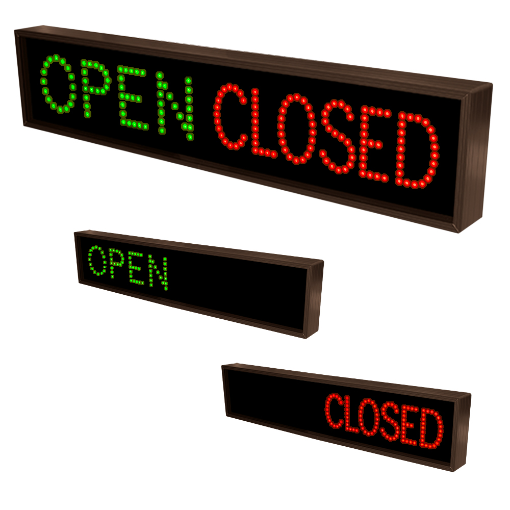 Outdoor LED Open Sign and Closed Sign 120-277 VAC, 7x34