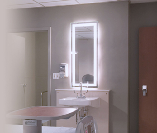Reliable lighted hospital mirror