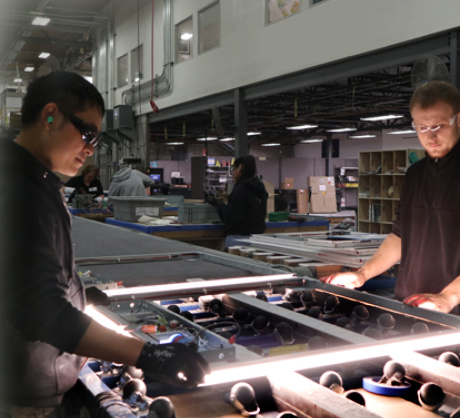 Lighted mirrors on the production line